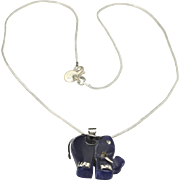 Vintage Sterling Silver & Dark Blue Lapis Elephant Pendant with Chain Necklace