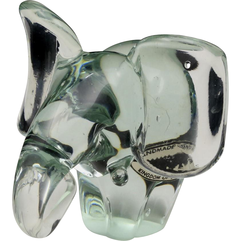 Handmade Nguenya Recycled Solid Glass Elephant Figurine Made in Swaziland