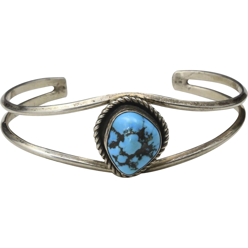 Vintage Sterling Silver & Turquoise Twisted Rope Cuff Bracelet Southwestern