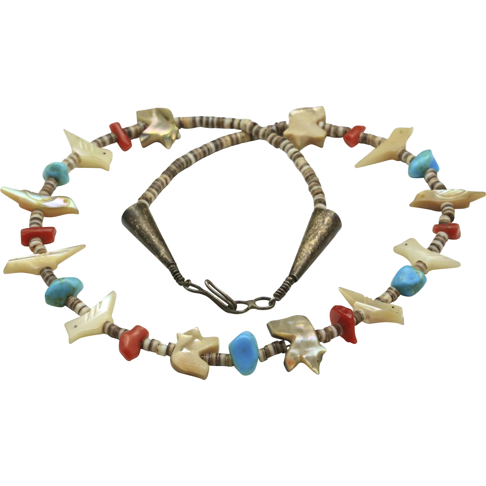 Vintage Zuni Silver Fetish Birds and Bears Shell Turquoise Coral Choker Necklace