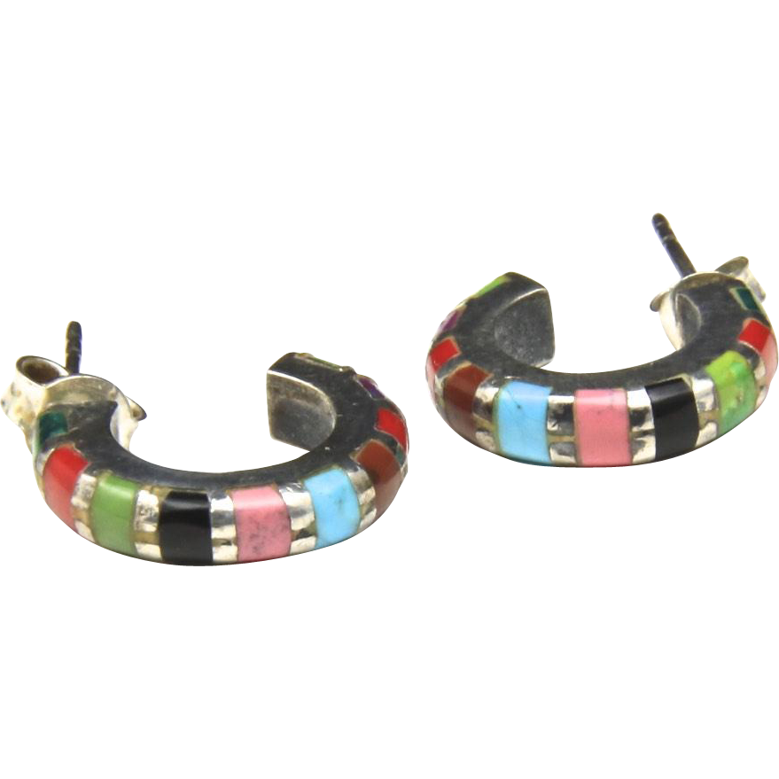 Vintage Multi Stone Hoop Earrings Malachite Coral Turquoise Onyx Rhodochrosite