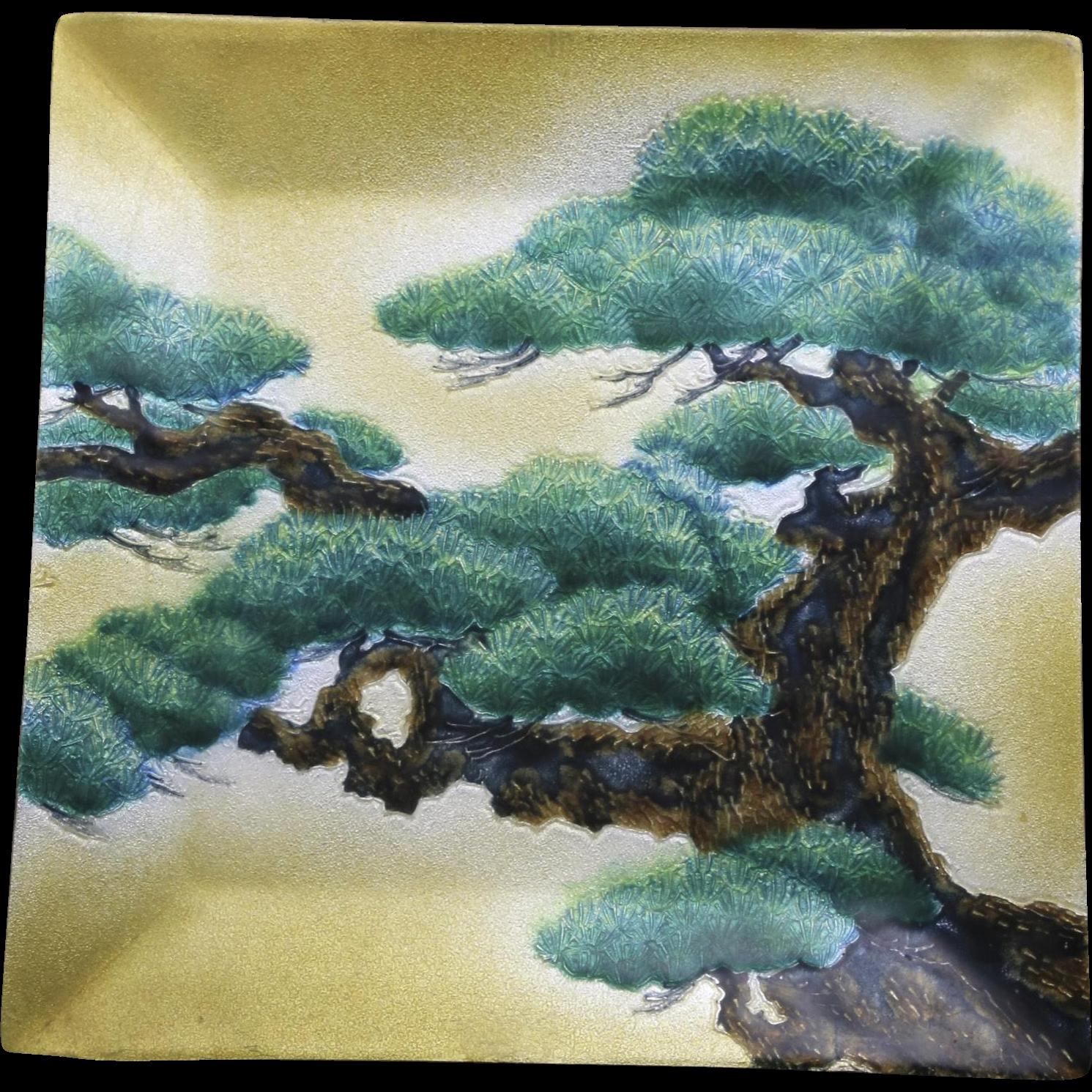Vintage Ando Cloisonne Enameled Japanese Bonsai Tree On Yellow Back Square Tray