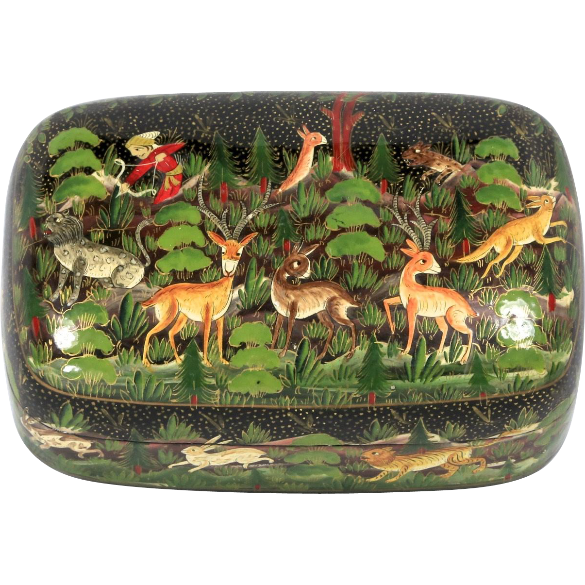 Vintage Black Lacquer Hand Painted Folk Art Hunter and Animals Wooden Ware Box