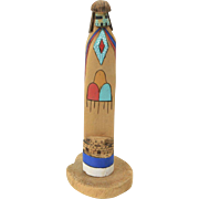 Vintage Navajo Tall Kachina Wooden Wood Burned Hand Painted Carving Sculpture