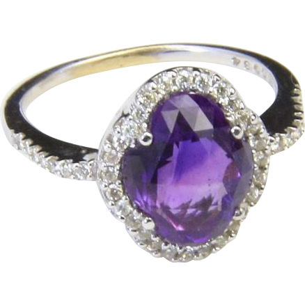 Vintage Sterling Silver Amethyst & White Topaz Halo Gemstone Ring Sz 6