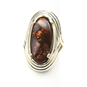Vintage Large Sterling Silver & Fire Agate Ring Mens Unisex Sz 7.5