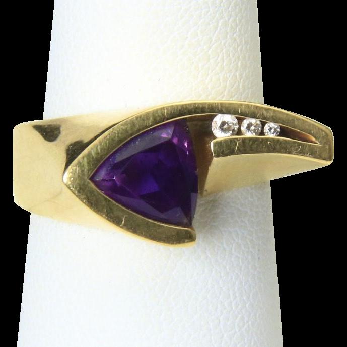 Vintage 18K Yellow Gold Amethyst Diamond Ring Geometric Signed John Atencio Sz 7