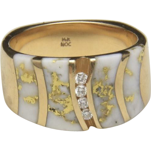 Natural Gold Flakes in White Quartz with Four Chanel Set Diamond Ring Size 7.25