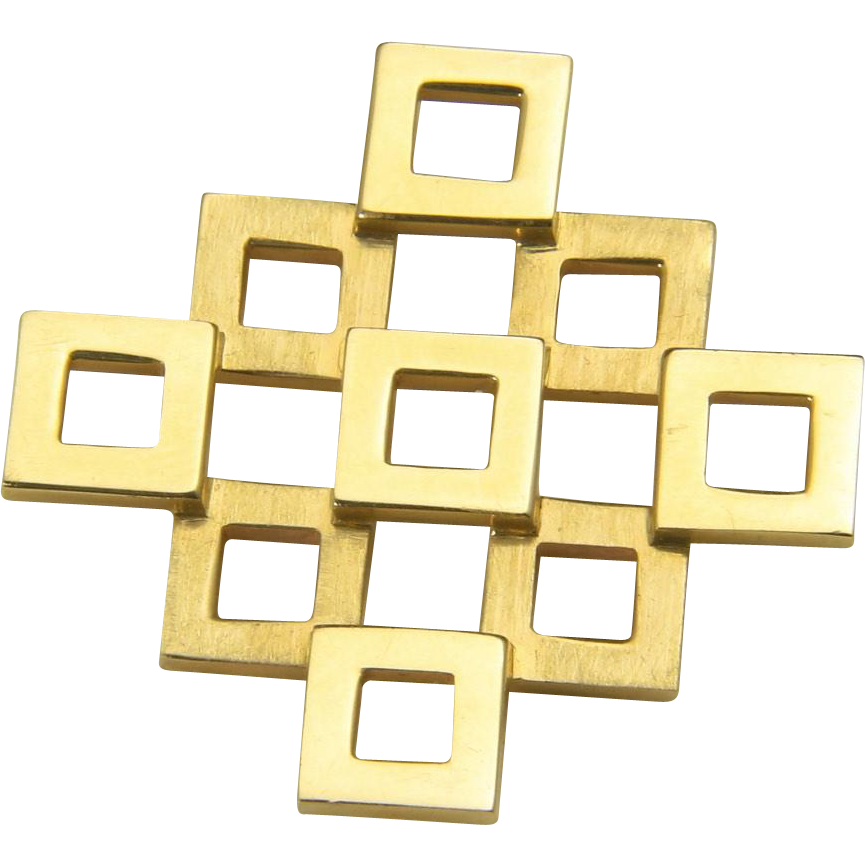 Vintage 14K Yellow Gold Artisan Geometric Modernist Slide Pendant Retro Square