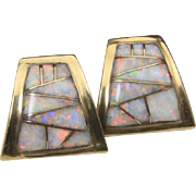 Handcrafted 14K Yellow Gold Inlaid Opal Post Earrings Lots of Fire In Opals