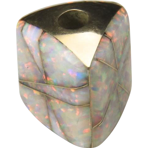 Handcrafted 14K Yellow Gold Inlaid Opal Three Sided Bead Slide Pendant Fire