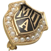 Vintage 10K Yellow Gold with Mini Pearls MNA Sorority Service Shield Pin