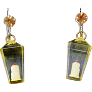 Vintage Lucite and Rhinestone Christmas Lantern Earrings Screw Back Non Pierced