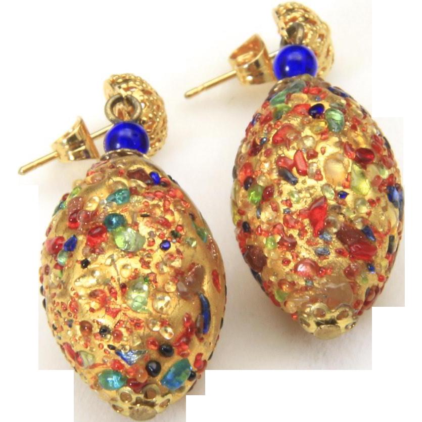 Vintage Gold Tone Multi Colored Glass Confetti Egg Shape Dangle Earrings Post