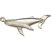 Vintage Sterling Silver Humpback Whale Gray Whale Charm Pendant Ocean Beach