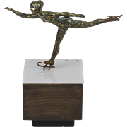 Vintage Bronze Ice Skater Figure On Lucite and Wood Base Art Sculpture