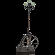Vintage G. Brott High Wheel Bicycle and Lamp Post Metal Art Sculpture