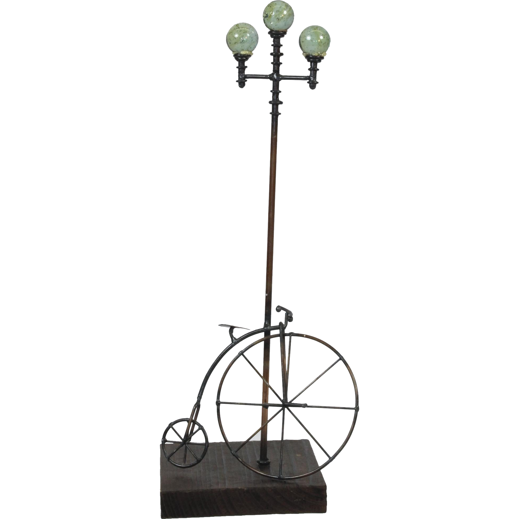 Vintage G. Brott High Wheel Bicycle and Lamp Post Metal Art Sculpture