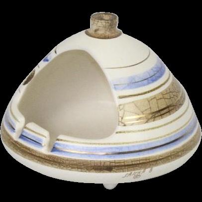 Mid Century Modern Sascha Brastoff Chimney Ashtray Cream Blue Gold Ceramic