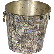 Vintage Abalone Shell and Alpaca Silver Ice Bucket Made in Mexico Bar Barware
