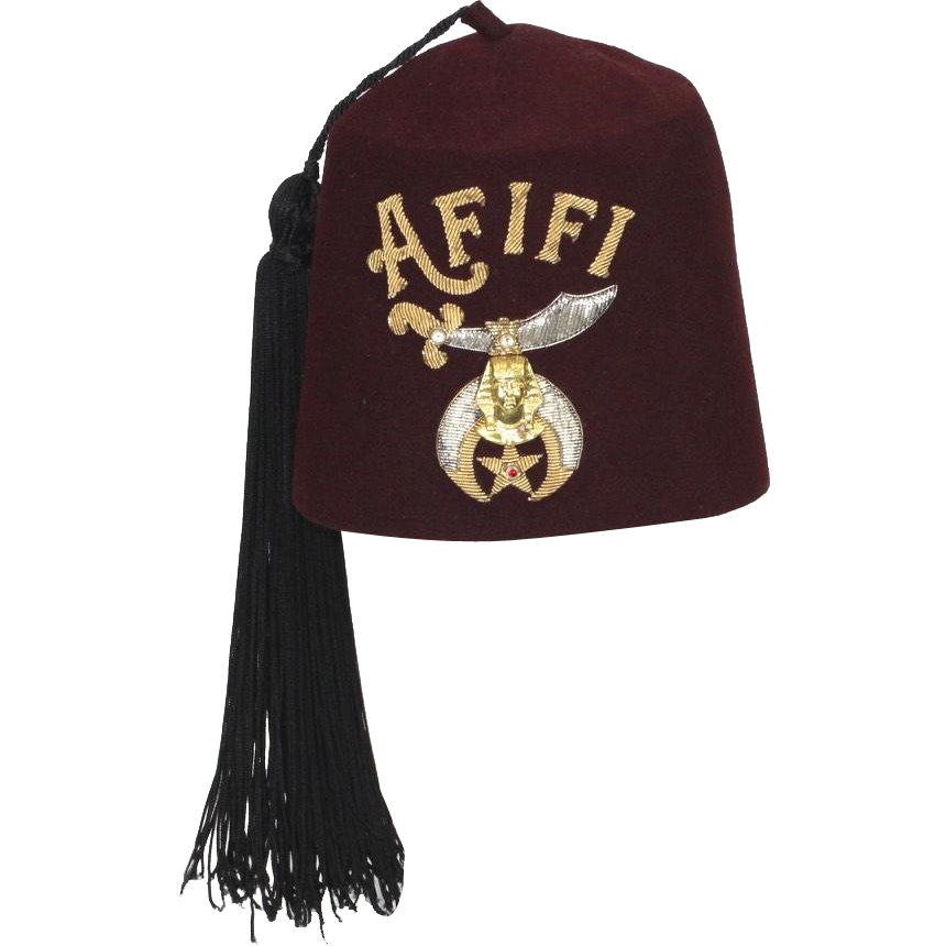Vintage Shriners Afifi Temple of Tacoma Washington Maroon Red Fez Hat w/ Tassel