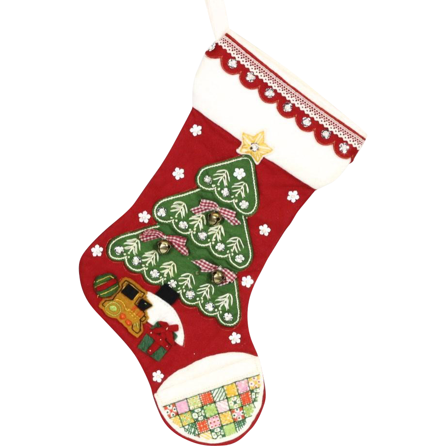 Handmade Christmas Tree w/ Toys Embroidered & Embellished Red Christmas Stocking