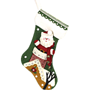 Handmade Christmas Santa Down Chimney Embroidered Green Christmas Stocking