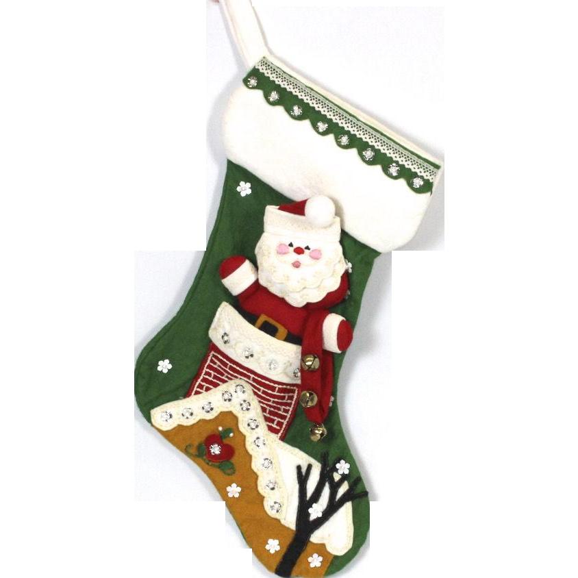 Handmade Christmas Santa Down Chimney Embroidered Green Christmas Stocking