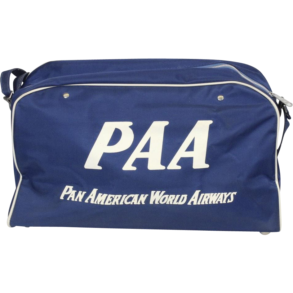Vintage Blue Pan American World Airways Carry On Travel Bag Luggage