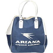 Vintage Ariana Afghan Airlines Zipper Carry On Travel Bag Purse Blue and White