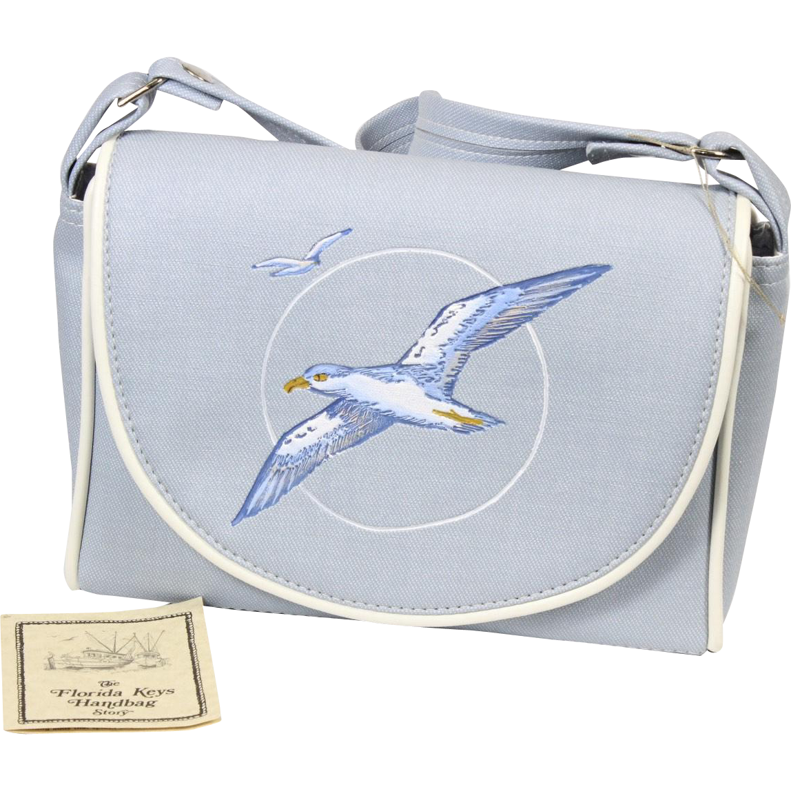 Vintage Seagull Florida Keys Handbag Purse Velcro Flap Closure Light Blue White