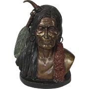 Vintage Charles M. Russell Indian Brave Bronze Bust With Color Detail