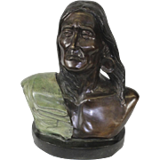 Vintage Charles M. Russell Silent Thunder Bronze Bust With Color Detail