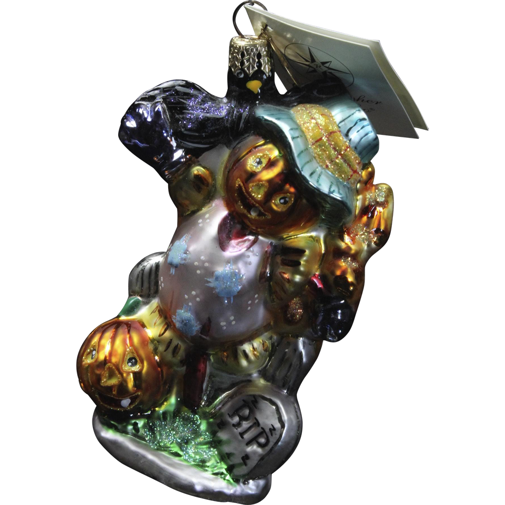 "Radko ""Crewmen and Ghouliet"" Pumpkin Scarecrow Glass Ornament Tag & Box"