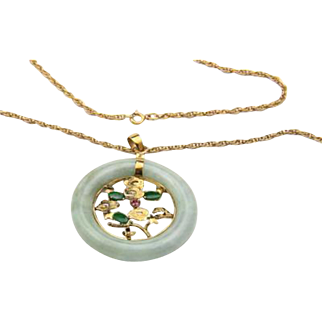 Vintage Jade Ruby & 14k Yellow Gold Circle Pendant Chain Necklace Tree Stars
