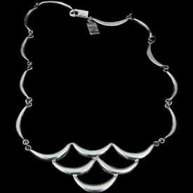 Vintage Modernist Mexican Sterling Silver Bib Necklace Taxco Geometric Ergonomic
