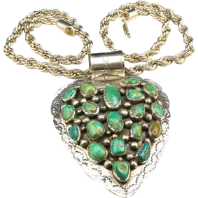 Vintage Navajo Huge Heart Sterling Silver & Royston Turquoise Necklace Signed