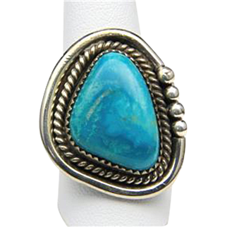 Vintage Navajo Large Sterling Silver and Turquoise Stone Ring Sz 9.5
