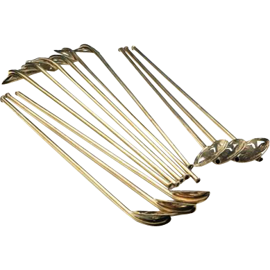 Vintage Set of 12 Sterling Silver Clover Drinking Straws Stir Stick Taxco Mexico