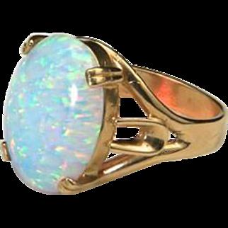 Beautiful Large & Bright Opal 14k Yellow Gold Ring Sz 7.5