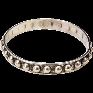 Vintage Sterling Silver Bangle Bracelet Bubble Drop Detail Circle Signed Mexico
