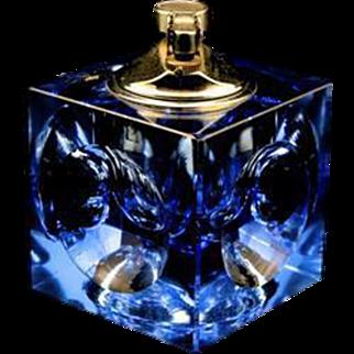 Vintage Nesor Mid Century Modern Blue Cut Crystal Table Lighter Retro MCM