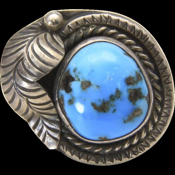 Vintage Sterling Silver Leaf Detail Turquoise Ring Size 7 Southwestern