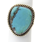 Vintage Sterling Silver Twisted Rope Detail Turquoise Ring Size 9.5 Southwestern