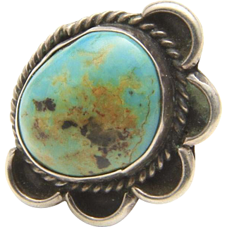 Vintage Sterling Silver Twisted Rope Half Flower Detail Turquoise Ring Size 5.5