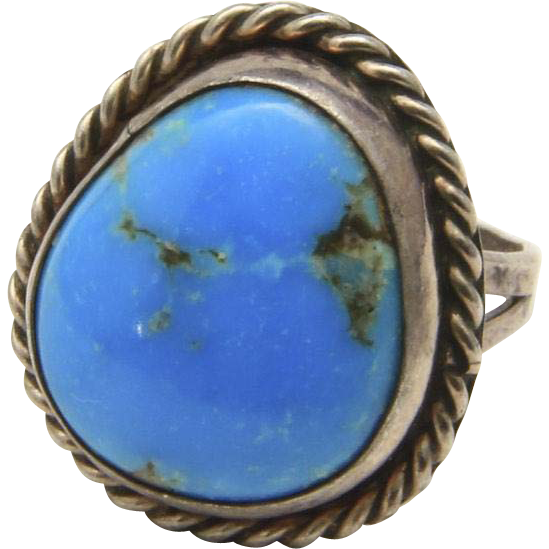 Vintage Sterling Silver Twisted Rope Detail Bold Blue Turquoise Ring Size 8.25