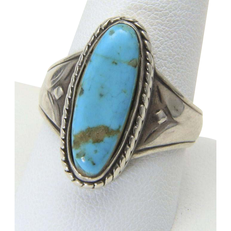 Vintage Sterling Silver Turquoise Stone Thicker Band Ring Size 10