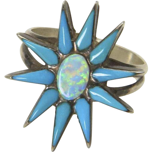 Vintage Sterling Silver Opal Turquoise Stone Star Ring Size 7 Starburst Unique