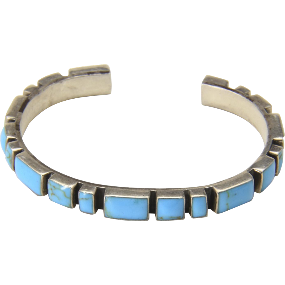 Vintage Sterling Silver Multi Stone Blue Turquoise Cuff Bracelet Made In Mexico