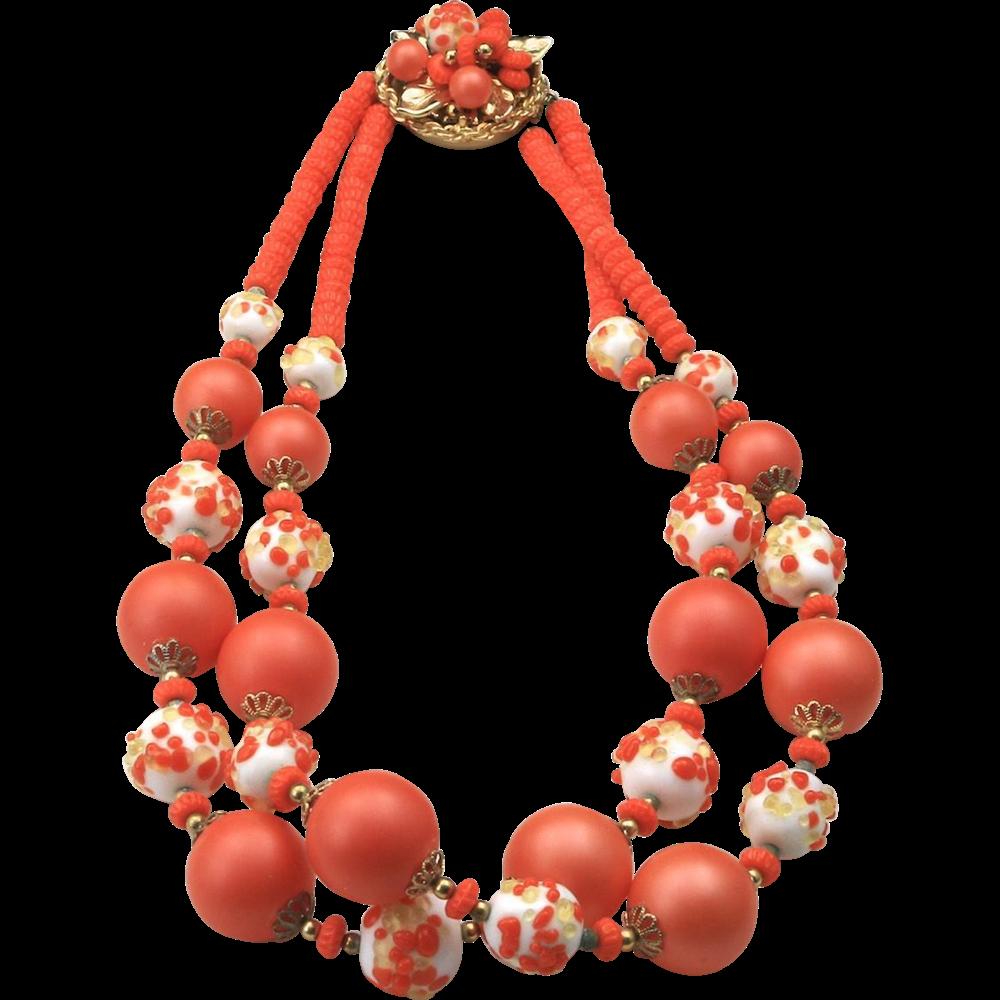 Vintage Vendome Gold Tone Metal w/ Orange and White Glass & Bead Necklace